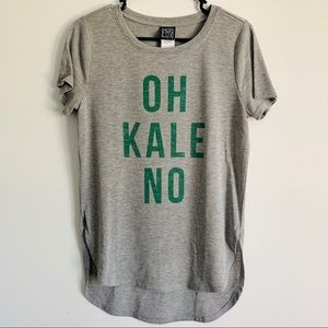 Grey, soft OH KALE NO T-Shirt. Short sleeve